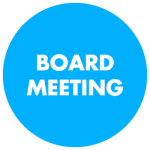 """Blue Circle with title """"Board Meeting"""""""